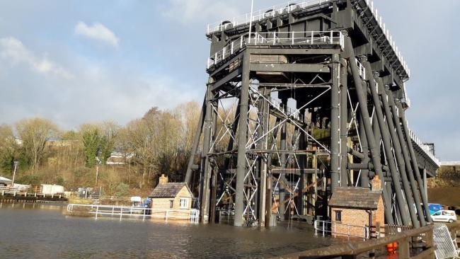 Northwich Anderton Boat Lift during Jan 2021 floods (c) Northwich Guardian