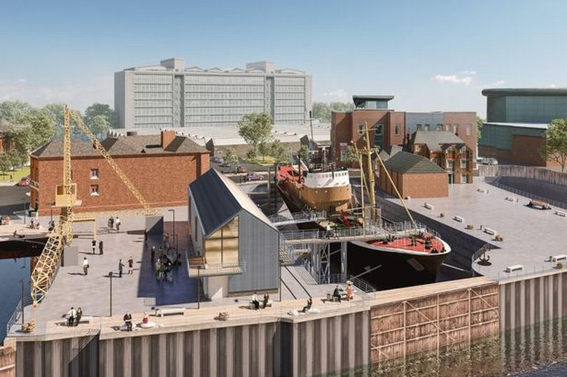 An impression of how Arctic Corsair will look at her new dry dock berth next to the River Hull (Image: Hull Daily Mail)
