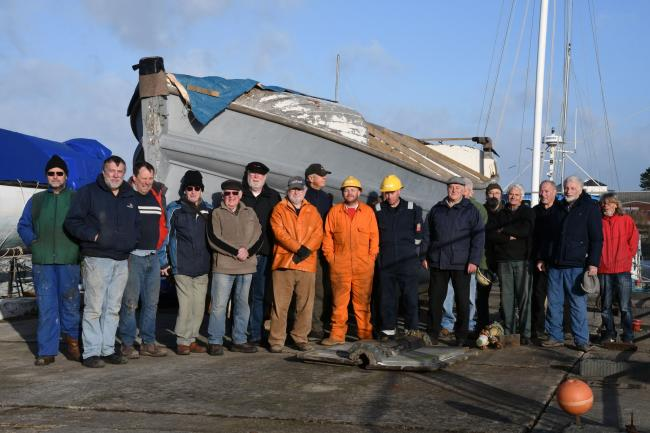 Members of the Charterhouse Returns Trust and the West Wales Maritime Heritage Museum in Pembroke Dock welcome the Charterhouse to her new home. PICTURE: Martin Cavaney