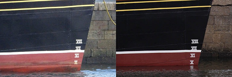 Before and after. Waverley's draft without boilers (left) & with her new boilers and one funnel (c) WEL and Roy Tait