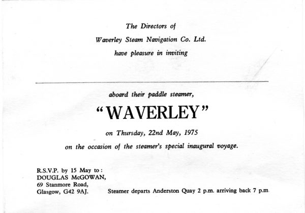 Waverley Cruise Invite - 22nd May 1975