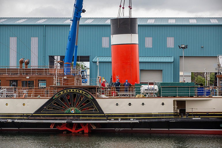 Waverley's aft tunnel has been fitted back into place (c) Roy Tait