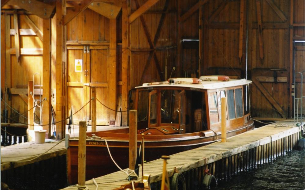 Penelope Moored in the wet dock of the old Windermere steamboat museum. Pre 2010