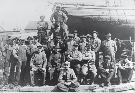 Photo 1: Zebu's Ship Builders at AB Holm's shipyard, Raa, Sweden 1938