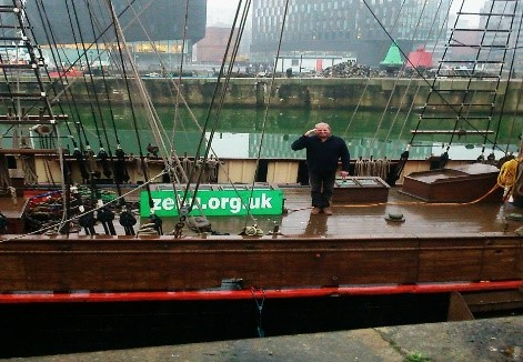 Photo 4: The Captain (Gerrith Borrett) saluting his new ship after taking custody of Tall Ship Zebu in January 2017