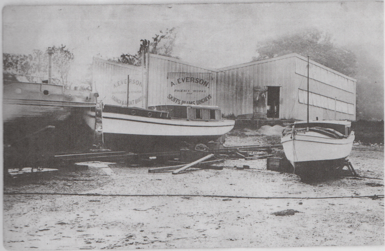 Everson's new shed following the fire of 1912 (c) Woodbridge Boat Yard