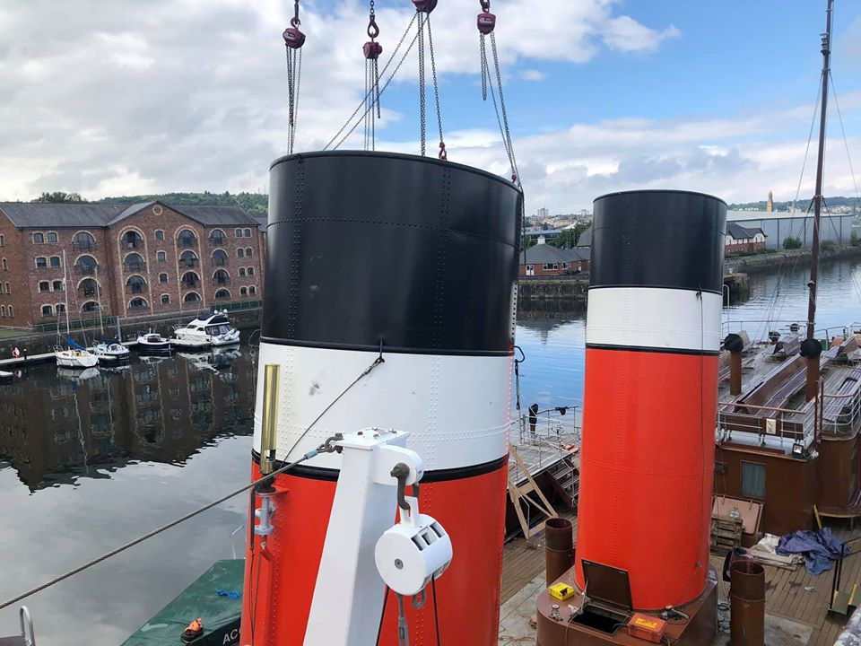 Funnel being fitted into place (c) Waverley Excursions
