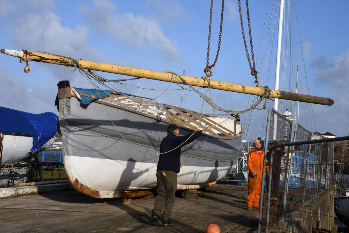The Charterhouse is craned into her new home at the West Wales Maritime Heritage Museum, Pembroke Dock. PICTURE: Martin Cavaney
