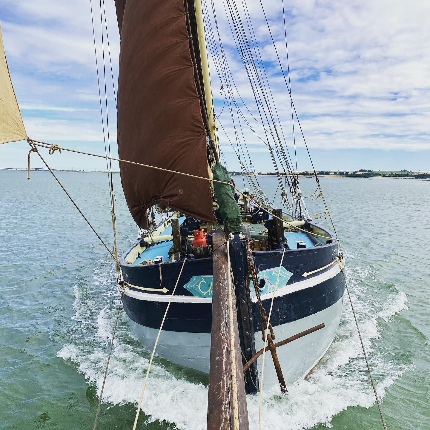 Edith May sporting her new bowsprit, sailing off Upchurch (c) Tiller & Wheel