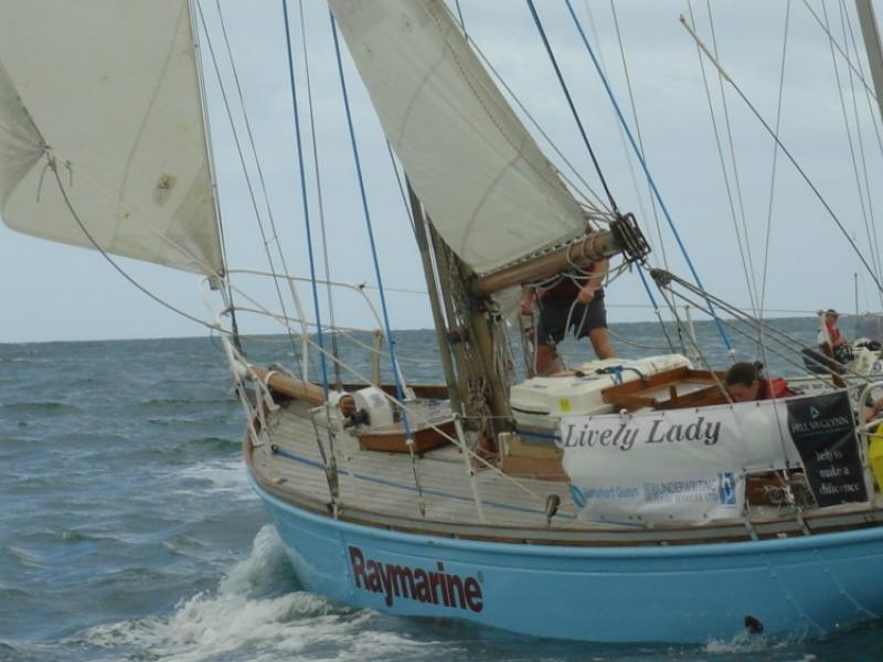 Lively Lady under sail