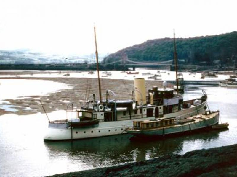 Llys-Helig moored in Conwy, 1950s