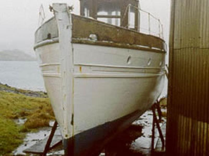 KAMI-NO-MICHI - hauled out at Kerera. Bow looking aft.