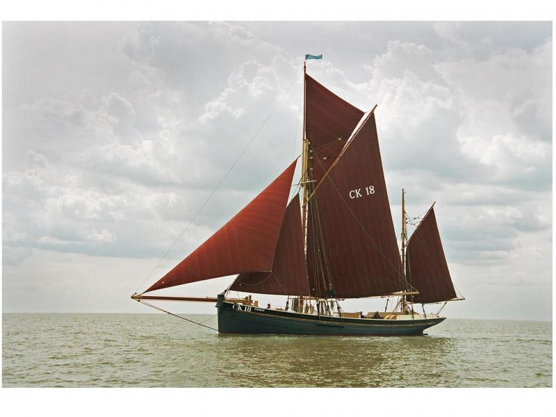 Pioneer under sail - port side
