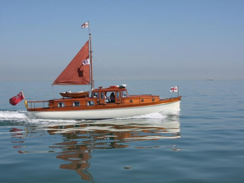 Hilfranor - on the Thames Estuary in May 2010 heading to Ramsgate prior to commemmorative cruise to Dunkirk.