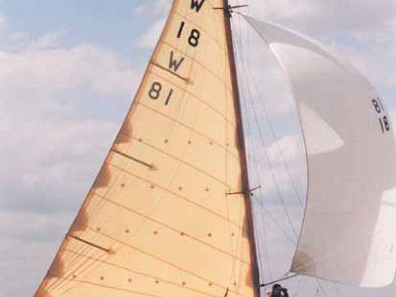 BLACK ADDER under sail, starboard side view
