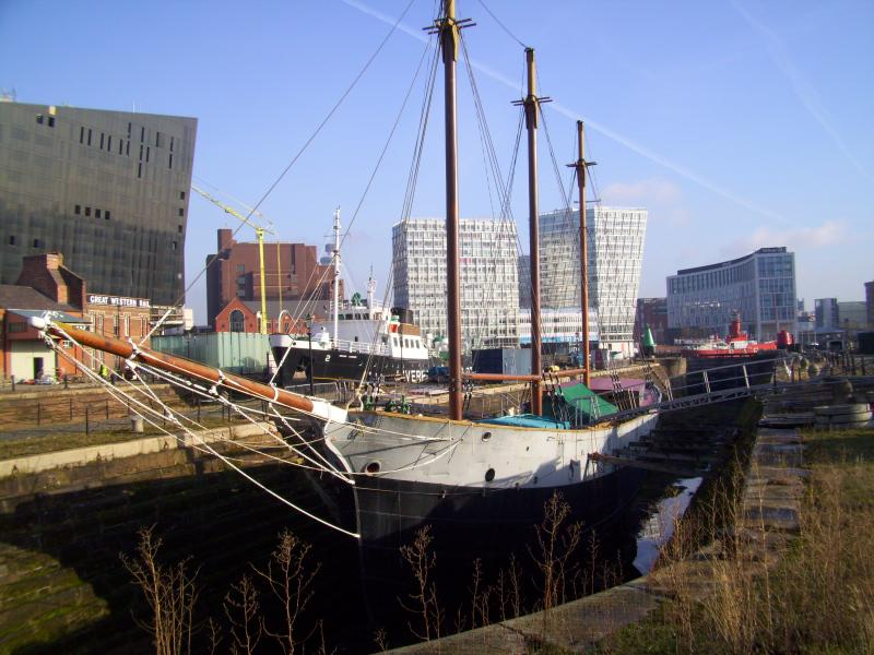 bow view, port side, in dry dock