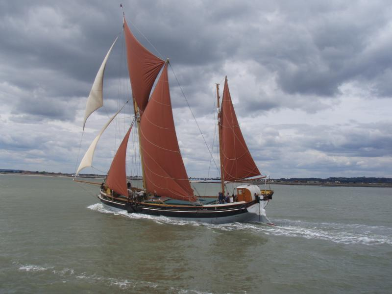 Cambria - sailing in 81st Thames barge race, with all sails set.