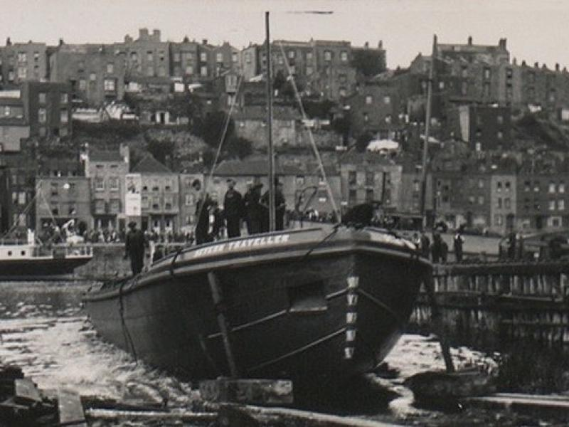Sliding down the slipway at Albion Shipyards