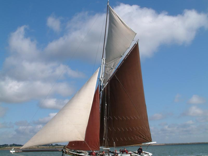 Sallie under sail - port side