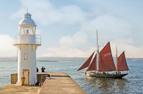 pilgrim of brixham passing brixham lighthouse by steve mcmillan