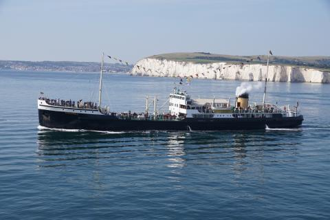 SS Shieldhall passes Old Harry Rocks coastline (c)  Andrew Cooke