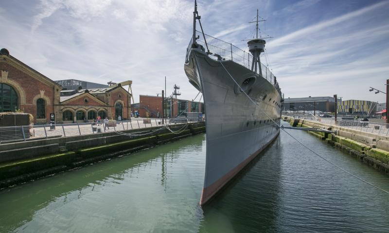 HMS Caroline moored - bow view