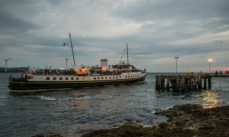 Photo Comp 2018 entry - MV Balmoral evening arrival at Keppel Pier, Isle of Cumbrae, by Graeme Phanco