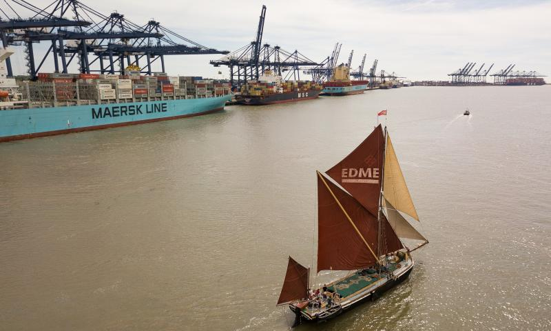 Photo Comp 2018 entry - Sailing Barge Edme exiting the Orwell at Felixstowe leading the Pin Mill race, by Kevin Jay