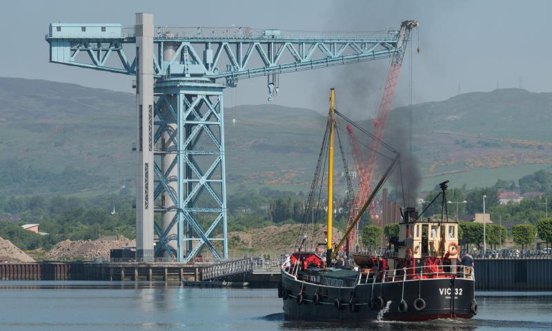 Photo Comp 2018 entry - VIC32 passing the Titan Crane at the site of the former John Brown shipyard, Clydebank, by Graeme Phanco