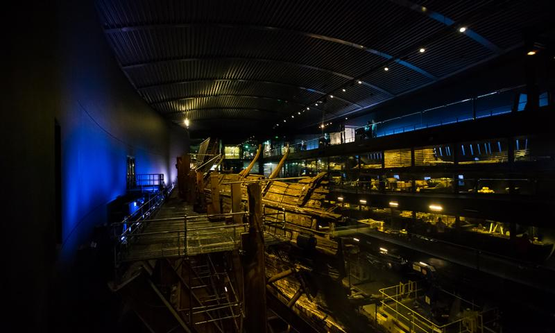 Starboard view of Mary Rose and Context Galleries in museum