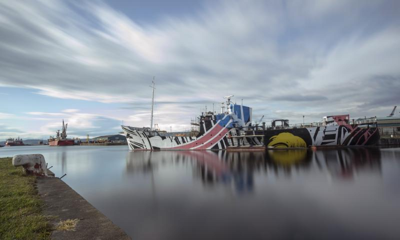 MV Fingal - dazzle paint - done by Turner Prize finalist, Ciara Phillips, as part of the WW1 commemorative art project: