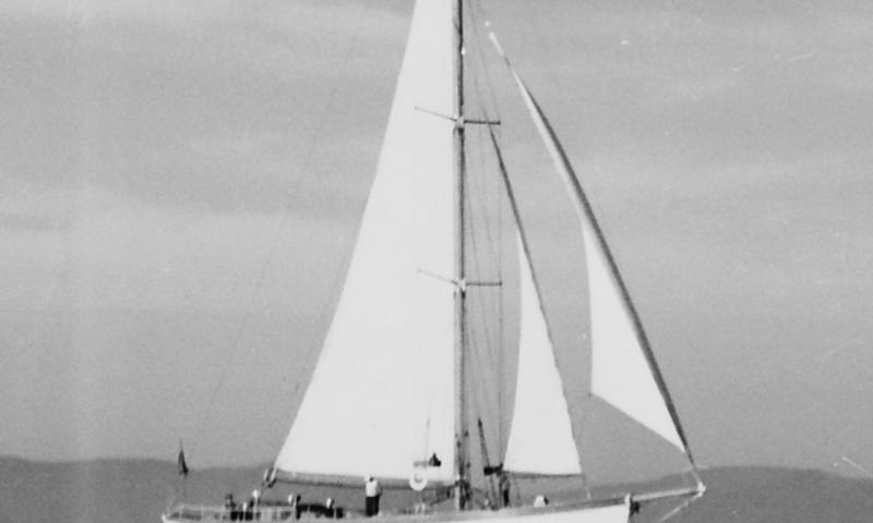 Blue Trout - taken in Southampton with old cotton sails, c 1950