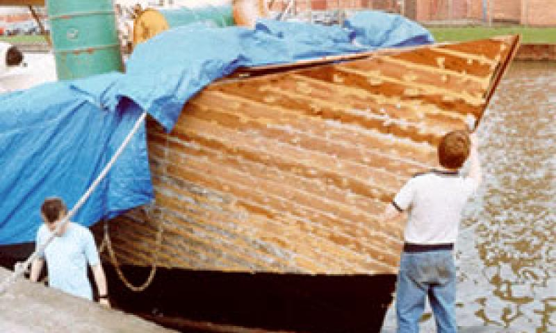 MORNING WINGS - repairs to bow in1992. Bow from starboard quarter looking aft.