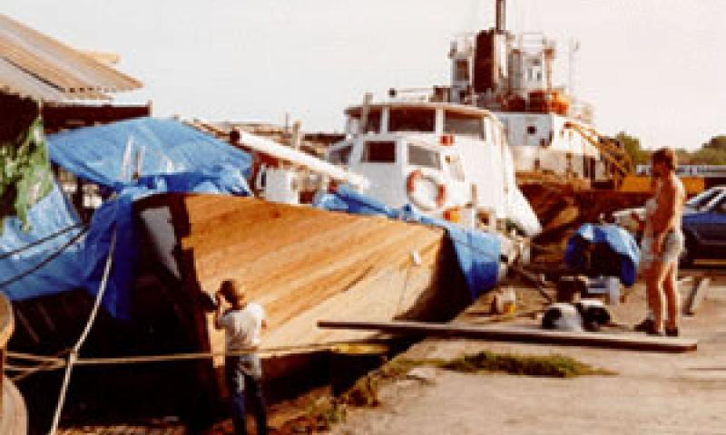 MORNING WINGS - repairs to bow in 1992. Bow from port side looking aft.