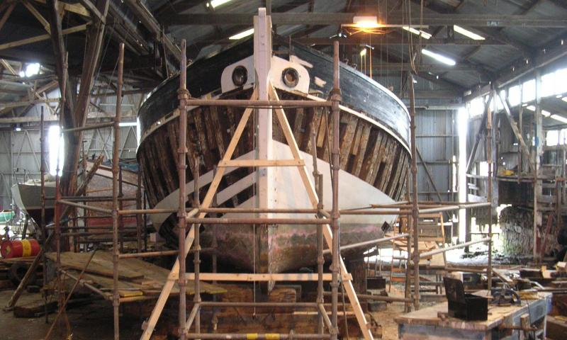 Lynher undergoing restoration - bow view