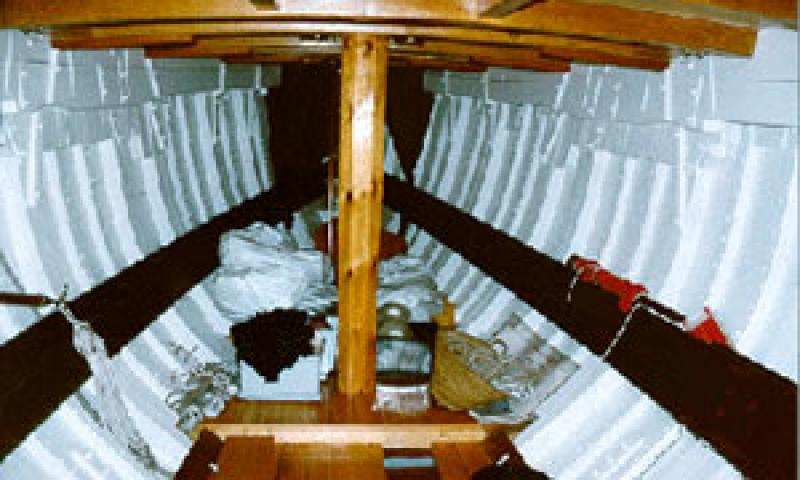 PARTRIDGE - interior of hull looking forward into bow.