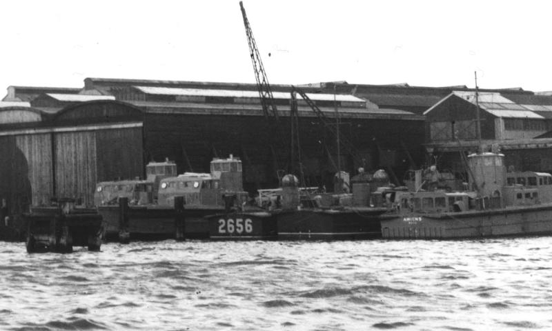 Amiens - along with other War time vessels moored at Thorneycroft's Yard Wollston (date uncertain)