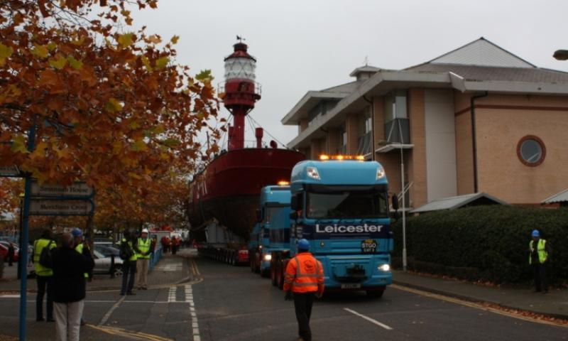 LV78-being transported to new temporary location in Eastern Docks, S'hampton, for restoration.