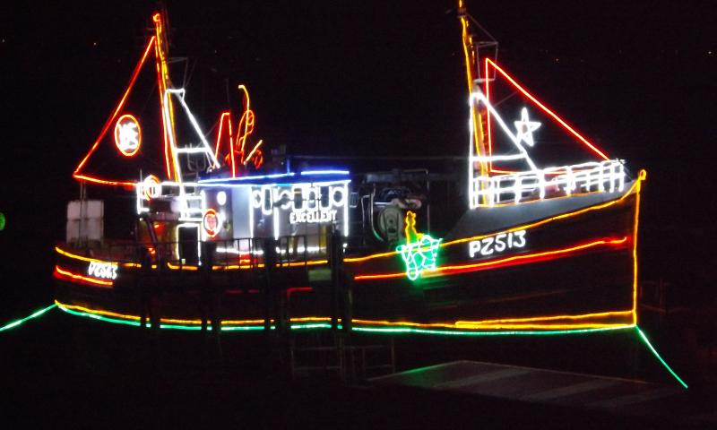 Excellent - illuminated with lights and on the slip at Newlyn as part of the annual Christmas Lights display