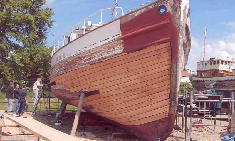 Jean Adair in Boatyard undergoing repair work