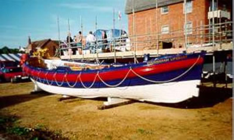 J C MADGE - on display in August 1999 as part of celebrations to mark 175th anniversary of RNLI. Bow from starboard side looking aft.
