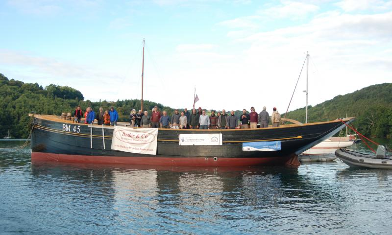 Pilgrim -  relaunched on 30 Aug 2011 leaving dry dock and towed to a mooring at the mouth of Old Mill Creek on the river Dart (above Dartmouth).