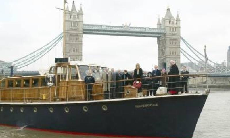 Havengore by Tower Bridge - starboard bow