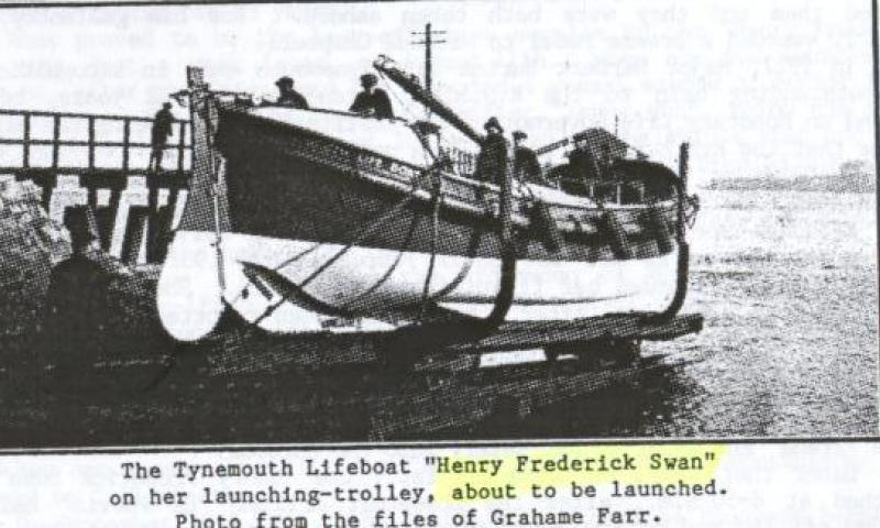 Henry Frederick Swan on her launching trolley