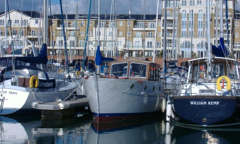 bow view in marina