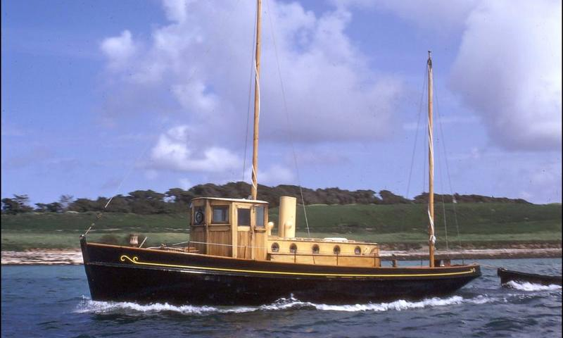 Soleil d'Or - port side, under way when she was in the Isles of Scilly (1956-1979) and owned by the proprietor of the island of Tresco