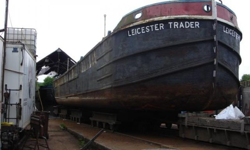 Leicester Trader - bow view on the slip