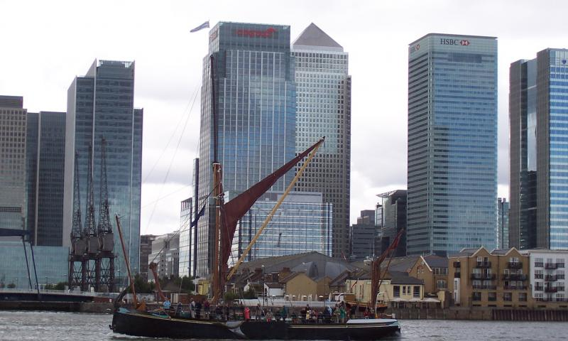 May passing Canary Wharf, port side view