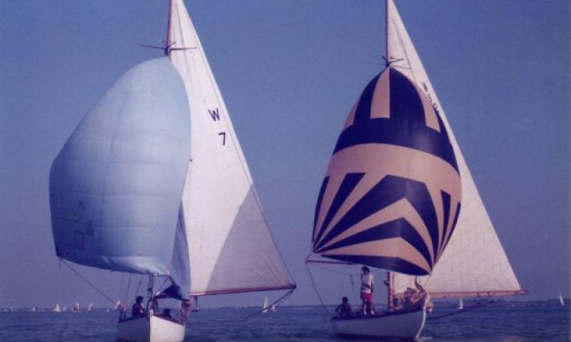 Dilkusha - racing in Osea Regatta 1985, River Blackwater in Essex, alongside 'Vivacious'