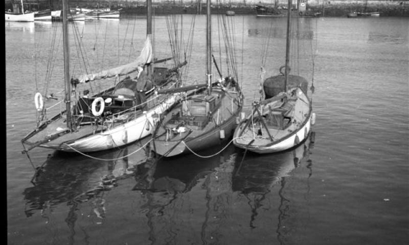 Dilkusha - early 1950s Sunderland North Dock. Saunterer (lft tp right, ex Capt Oates of Antartix expedition), English Lass (Laurent Giles Channel Class yacht) and Dilkusha.